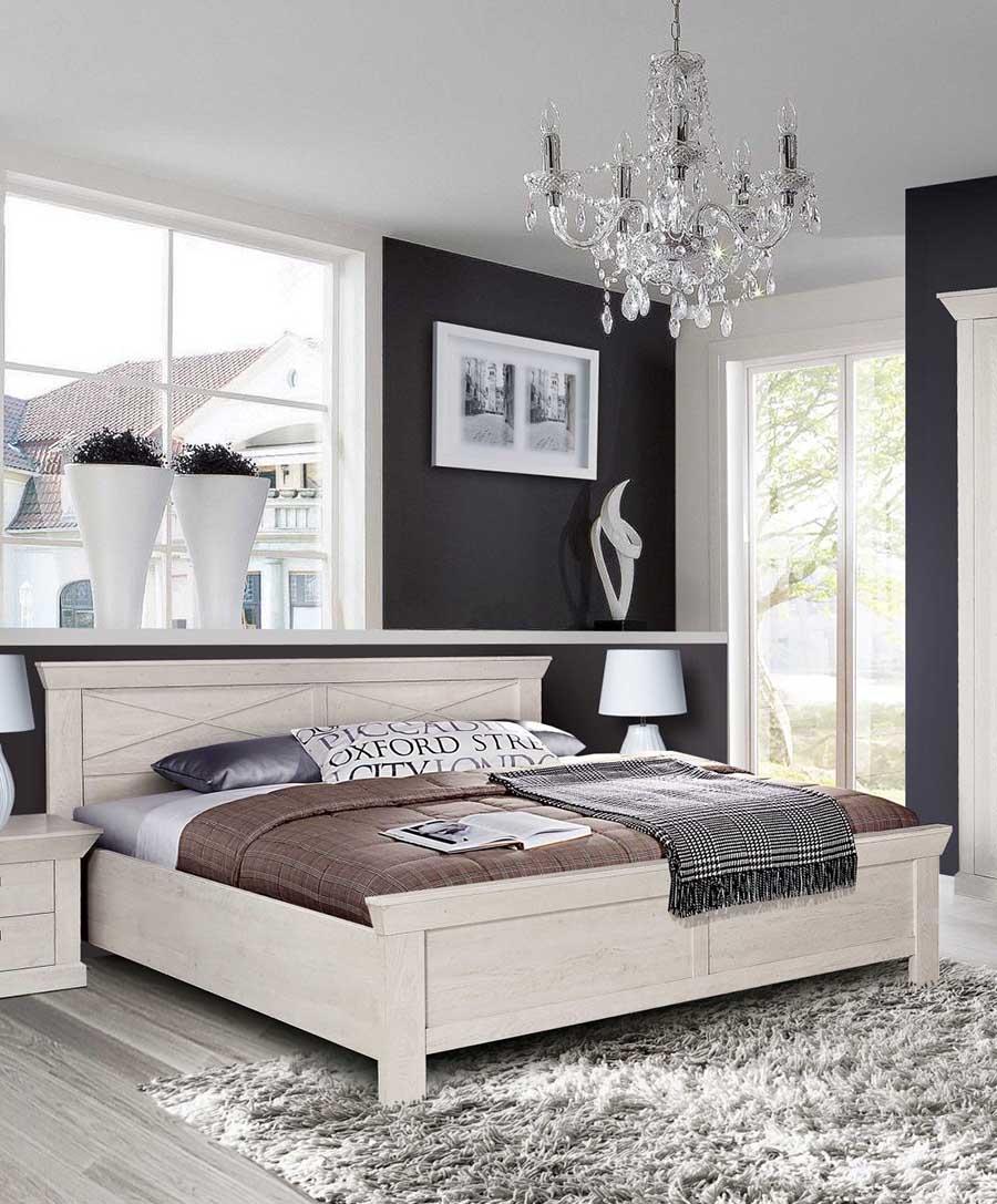 """Doppelbett """"Kashmir"""" Futonbett 180x200cm pinie weiß Landhaus Stil"""