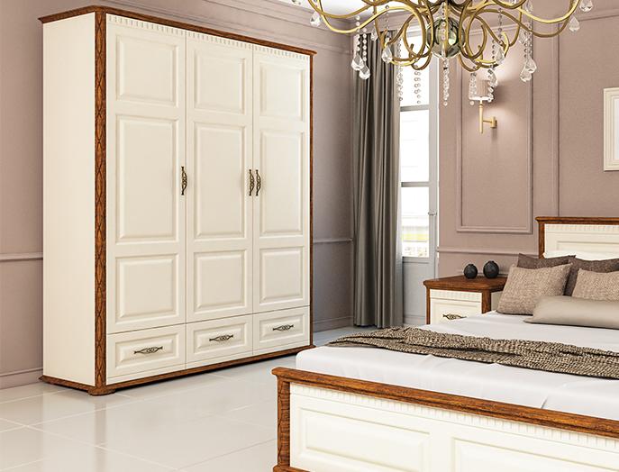 schlafzimmer schrank kleiderschrank 165cm creme country eiche kleiderschr nke schlafzimmer. Black Bedroom Furniture Sets. Home Design Ideas