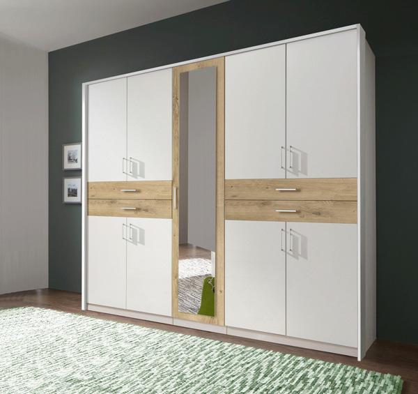 Kleiderschrank Schlafzimmer Schrank Taiga weiß / plankeneiche 225cm ...