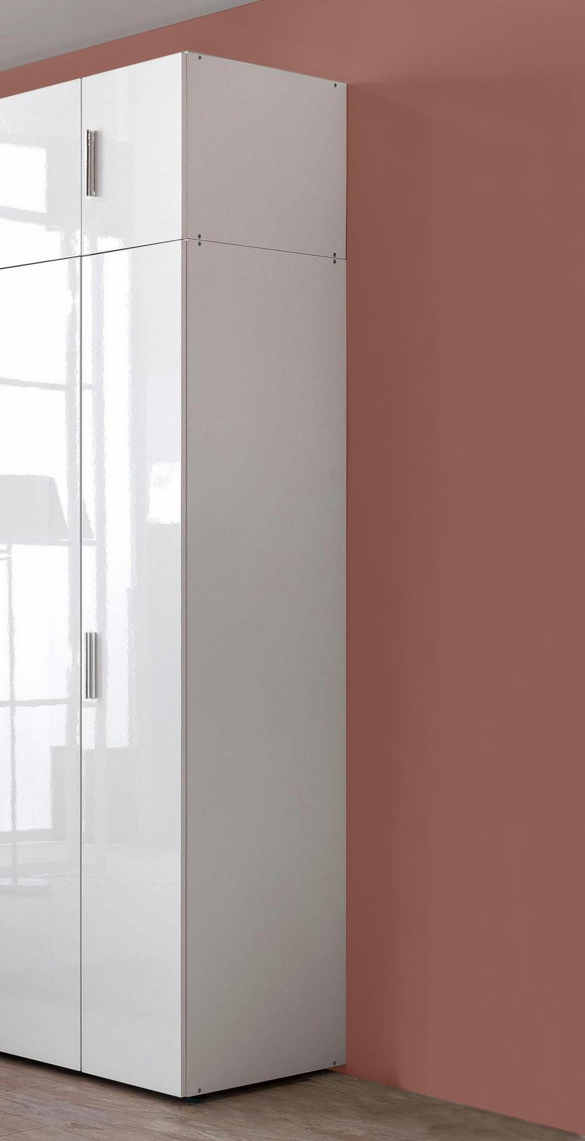 Kleiderschrank Schrank mit Aufsatz Malta weiß / weiß Hochglanz 50cm ...