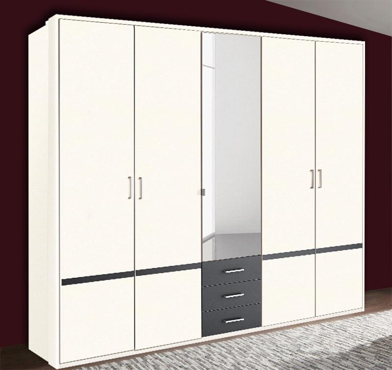Kleiderschrank Schlafzimmerschrank Riga Mit Spiegel Weiß