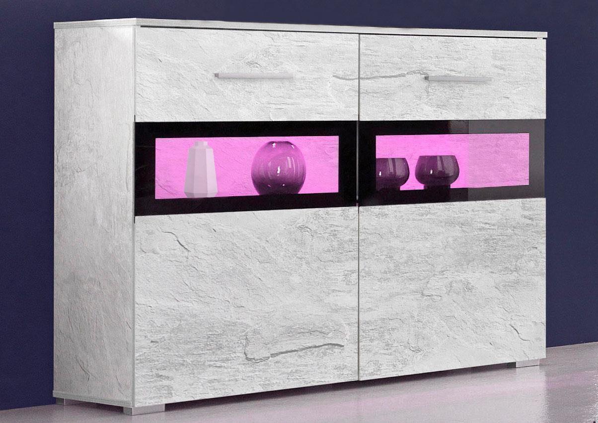 Sideboard Kommode 2-türig beton / Absetzung schwarz Neu