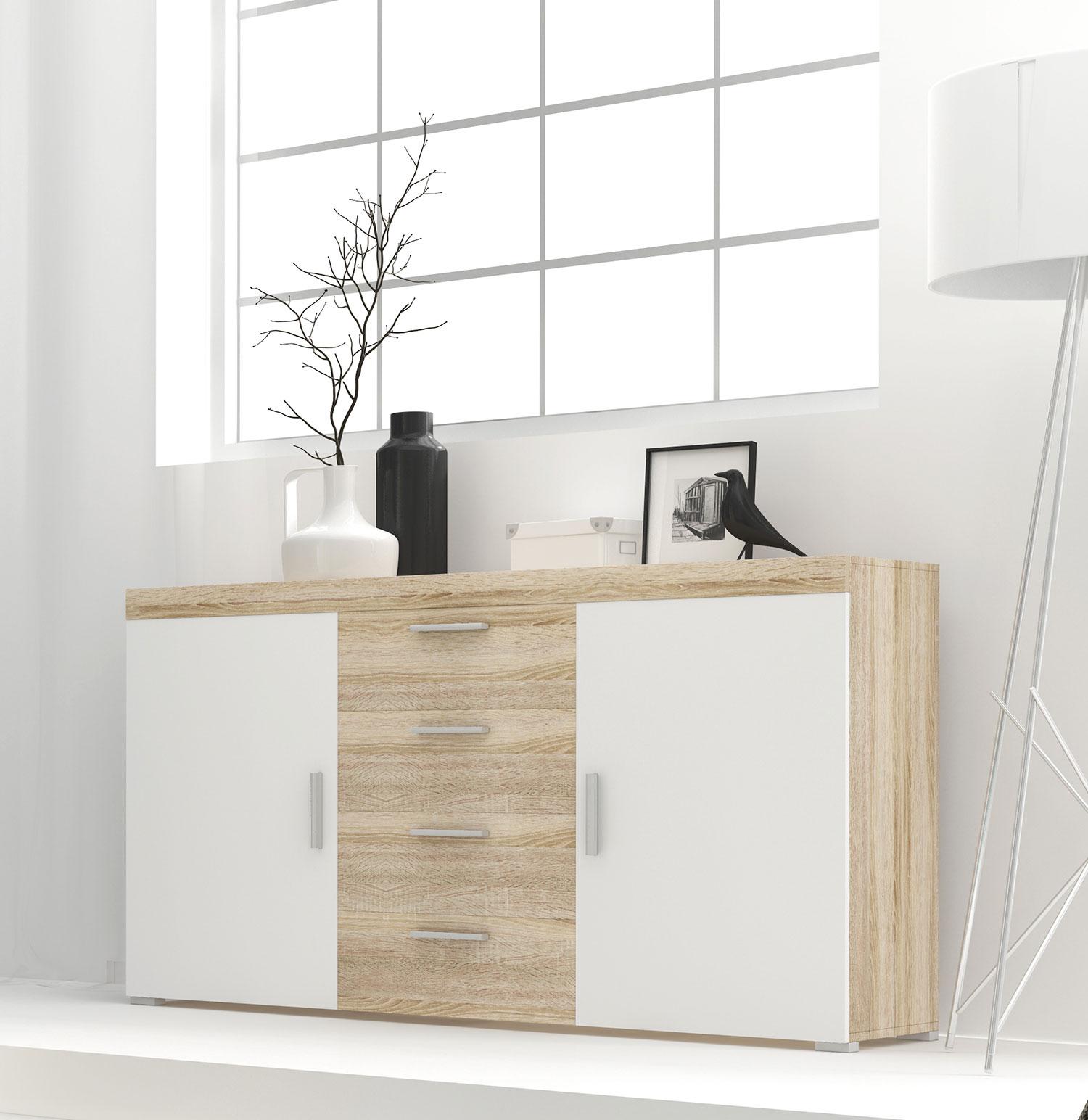 Kommode Sideboard Anrichte Wohnzimmer 150cm Sonoma Eiche Weiss Sideboards Und Kommoden Wohnzimmer Feldmann Wohnen Gmbh Online Shop