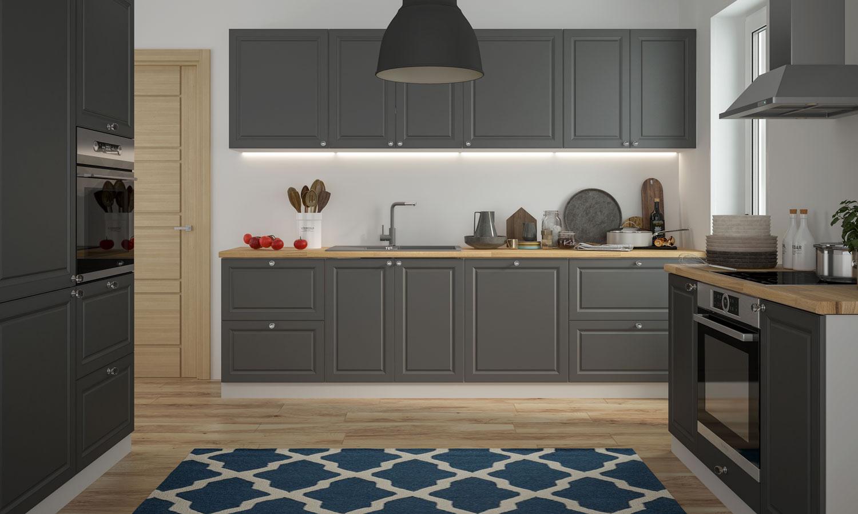 Küchenzeile Küchenblock Küche Einbauküche grau RAL 10 umbragrau matt  lackiert Landhaus