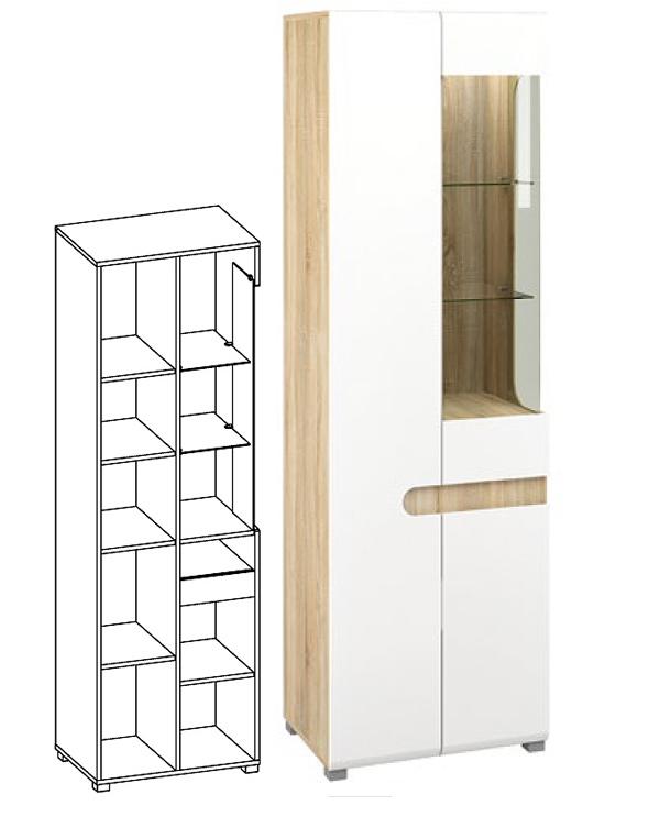 wohnwand 5 teilig sonoma eiche weiss hochglanz neu wohnw nde wohnzimmer feldmann wohnen. Black Bedroom Furniture Sets. Home Design Ideas