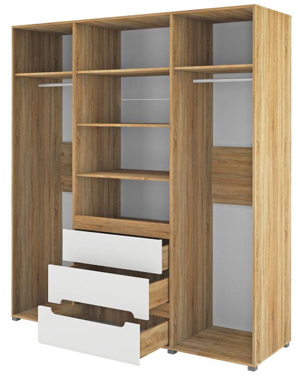 kleiderschrank schlafzimmer schrank 198cm sonoma eiche wei halbglanz kleiderschr nke. Black Bedroom Furniture Sets. Home Design Ideas