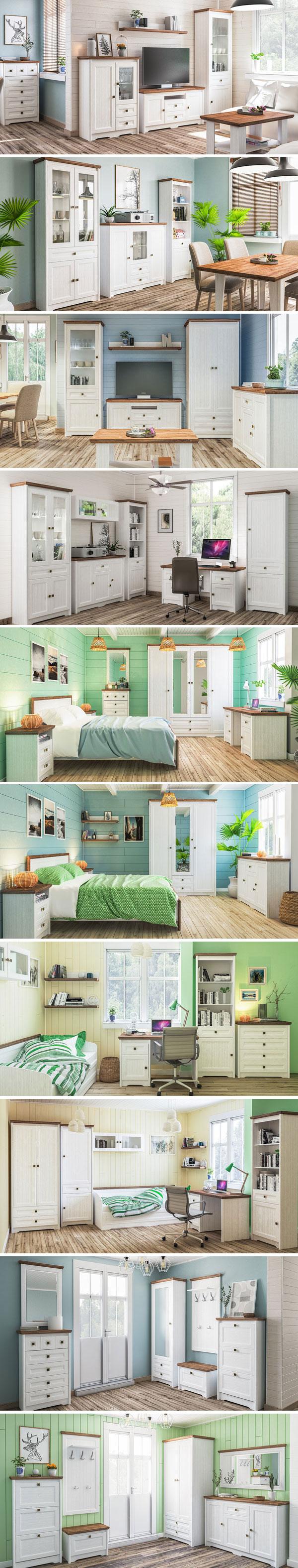 Jugendzimmer Set komplett 5 teilig Schreibtisch Bett 90x200cm weiß gewischt eiche sterling