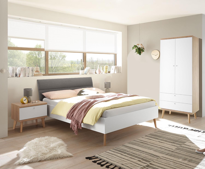 Schlafzimmer Set Komplett 3 Teilig Merle 140x200cm Eiche Riviera Weiss Grau Komplett Schlafzimmer Schlafzimmer Feldmann Wohnen Gmbh Online Shop