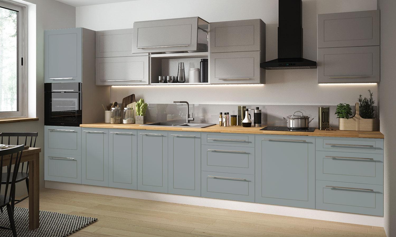 Küchenzeile Küchenblock Küche Komplett Modern 10cm grau dust grey mint