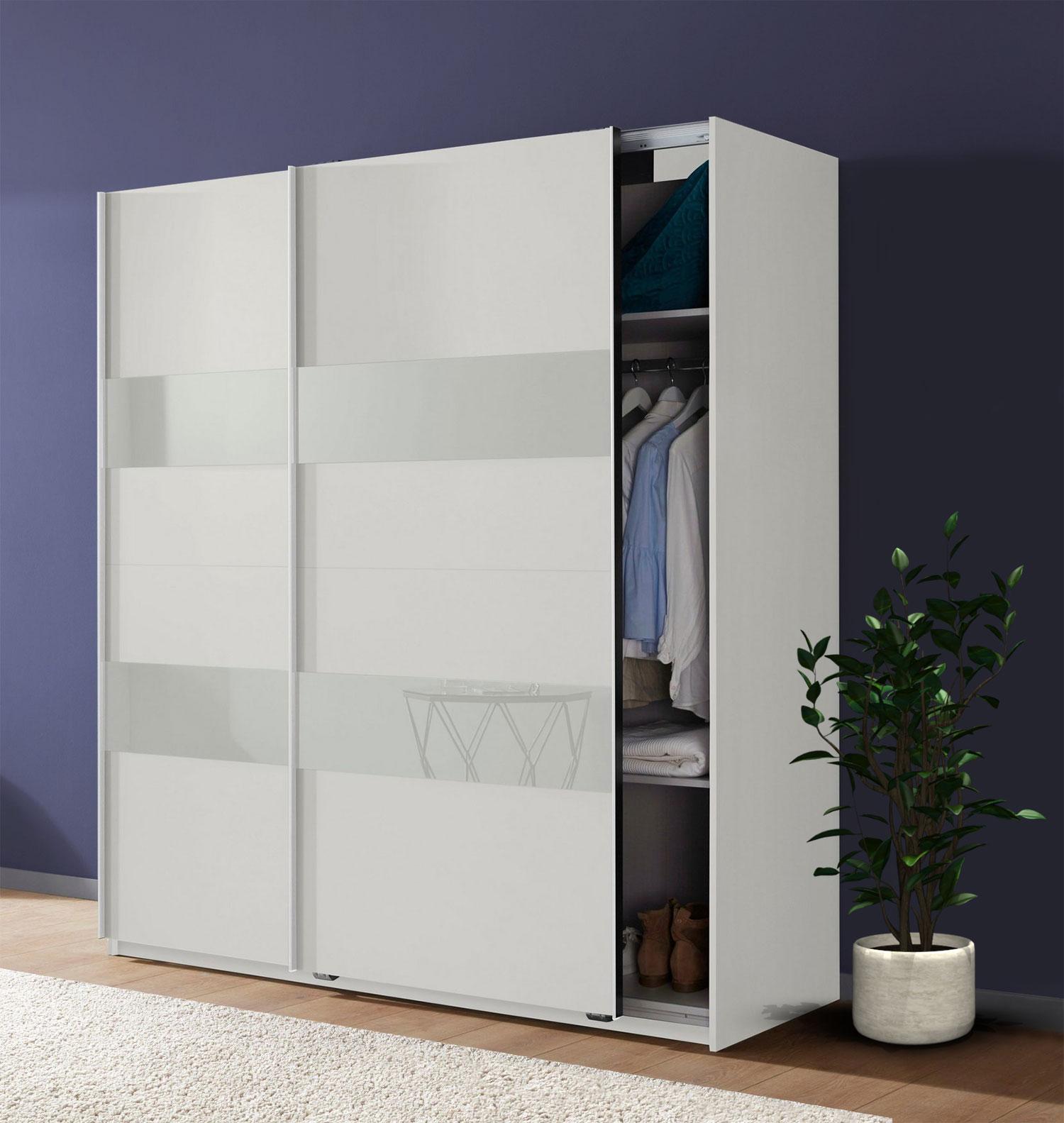 Wimex Schwebetürenschrank Kleiderschrank Schrank Altona weiß Weißglas 180cm