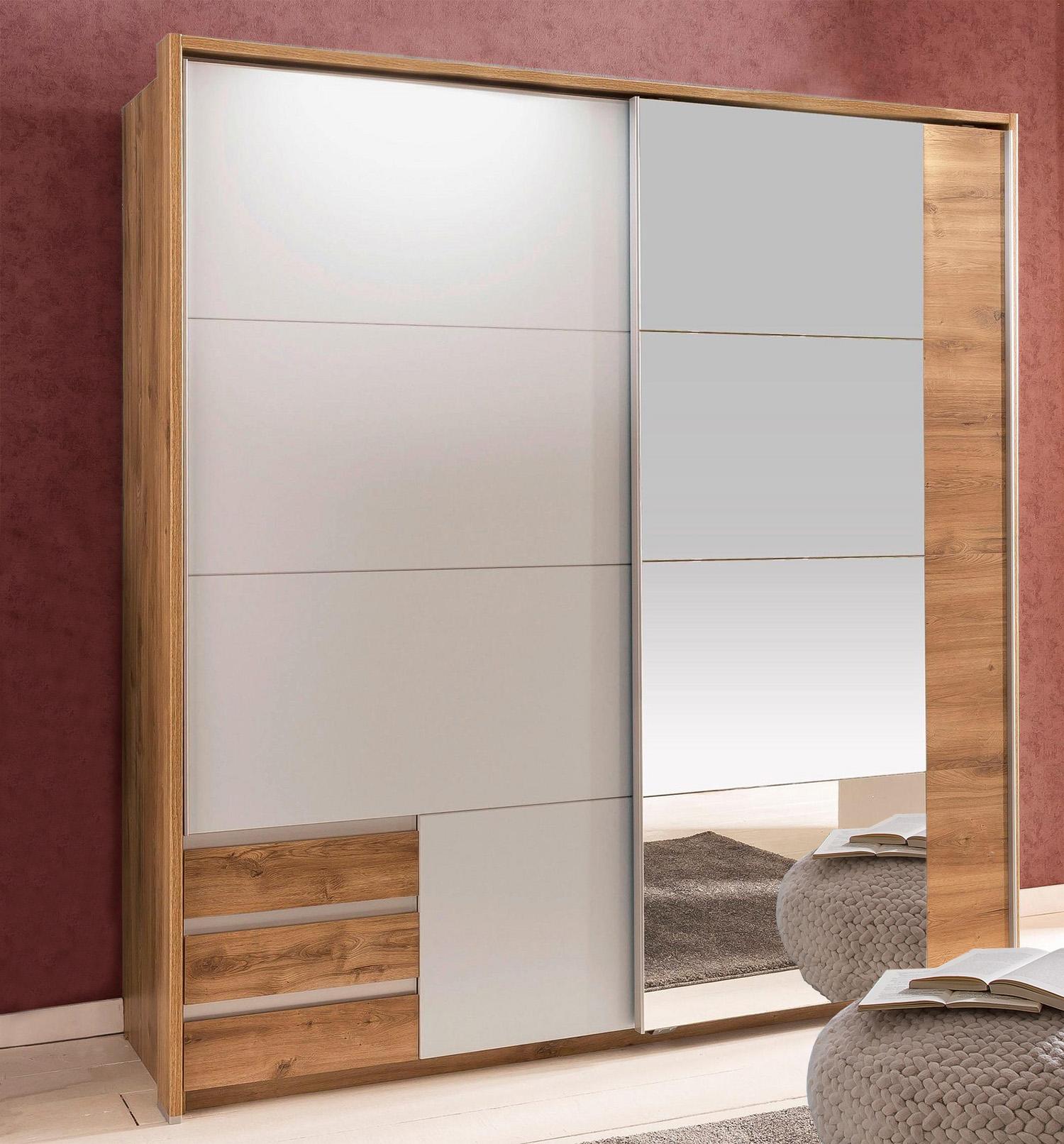 Schwebetürenschrank Kleiderschrank Emden 2-türig plankeneiche / weiß 180cm Neu