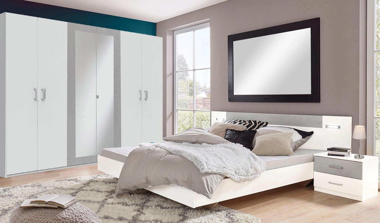 Schlafzimmer Set komplett 4-teilig Angie weiß / beton lichtgrau ...
