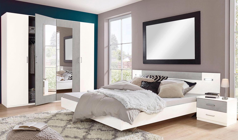 Schlafzimmer set komplett 4 teilig angie wei beton for Schlafzimmer komplett set