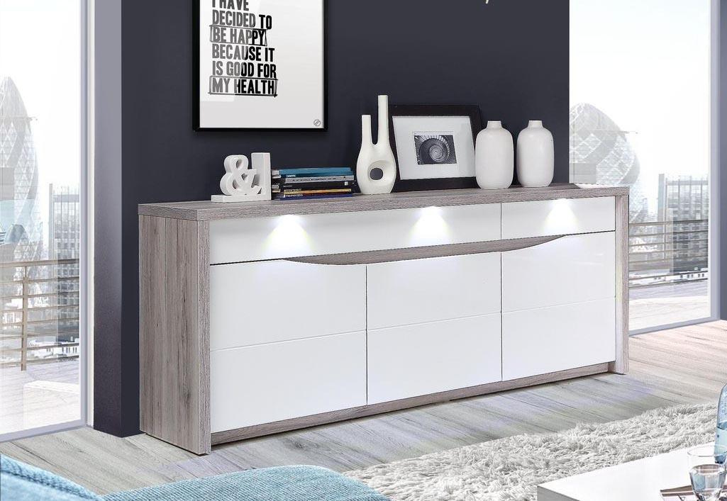 Sideboard Kommode sandeiche / weiß hochglanz inkl. Beleuchtung