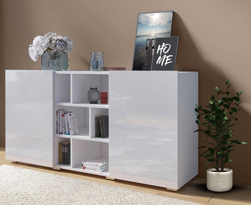 Sideboard Kommode Anrichte weiß / weiß hochglanz 132cm Neu