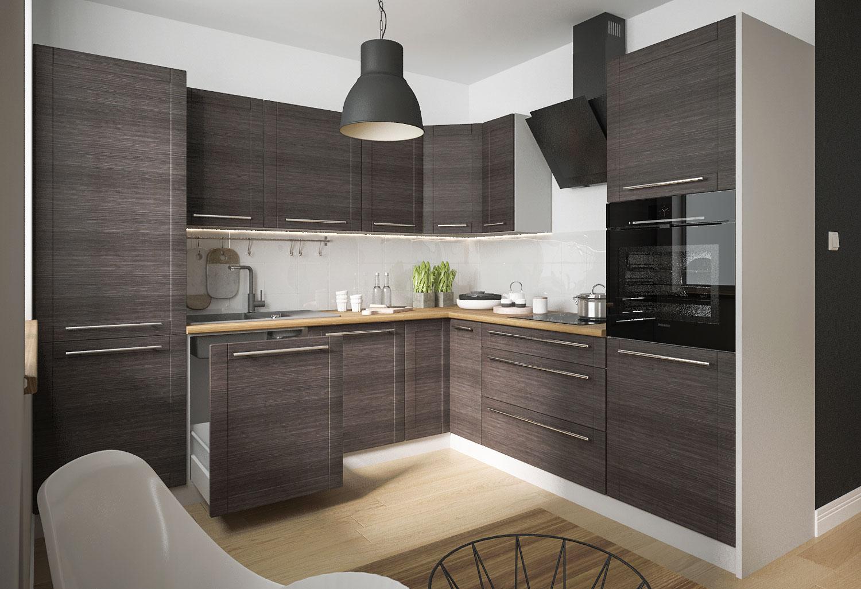 küchenzeile l-form einbauküche 270x242cm korpus grau front