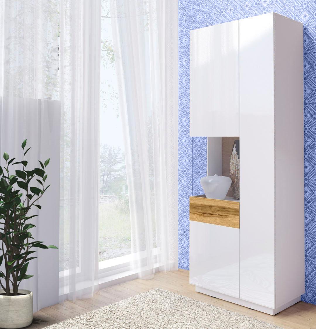 Standvitrine Vitrine Glasvitrine Schrank weiß hochglanz votaneiche 80cm