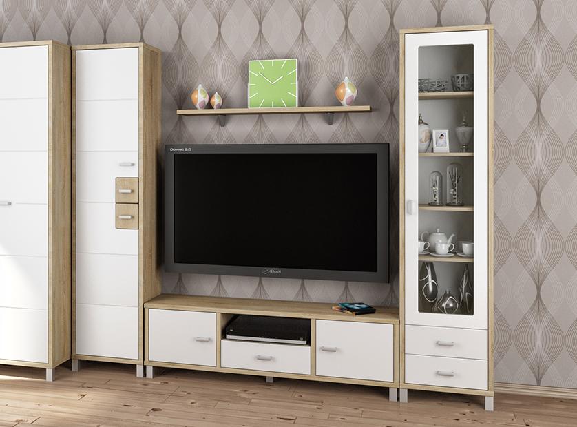 wohnwand anbauwand 4 teilig eiche sonoma wei hochglanz. Black Bedroom Furniture Sets. Home Design Ideas