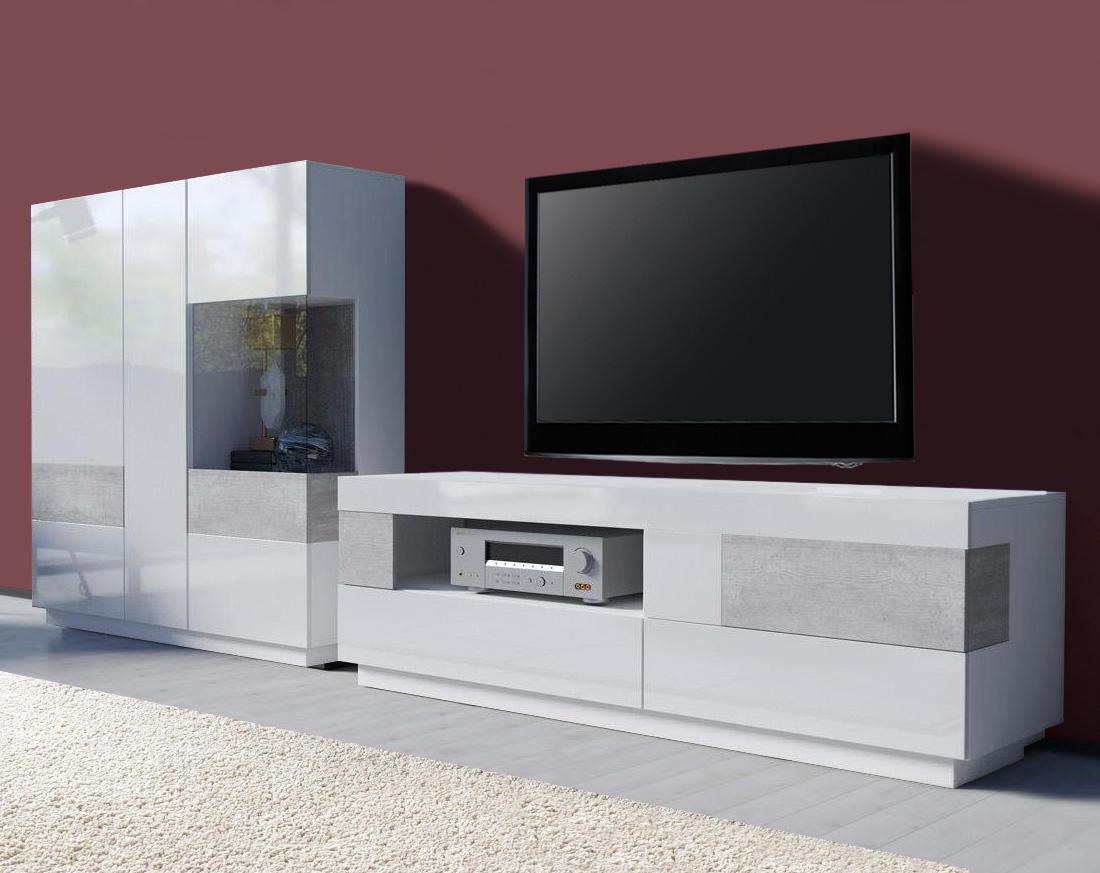 wohnwand wohnzimmer anbauwand 290cm wei wei hochglanz. Black Bedroom Furniture Sets. Home Design Ideas