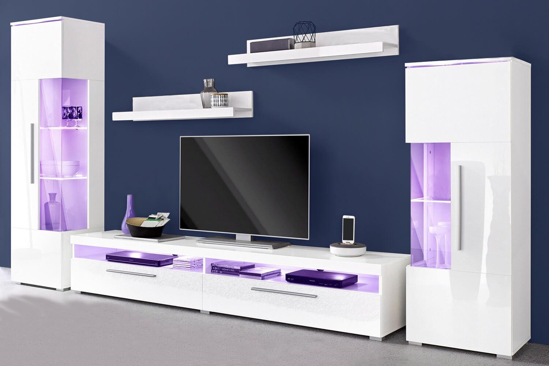 wohnwand anbauwand 5 teilig wei wei hochglanz b ware. Black Bedroom Furniture Sets. Home Design Ideas