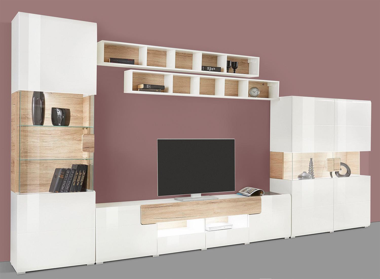 wohnwand anbauwand 5 teilig wei eiche sanremo neu wohnw nde wohnzimmer feldmann wohnen. Black Bedroom Furniture Sets. Home Design Ideas