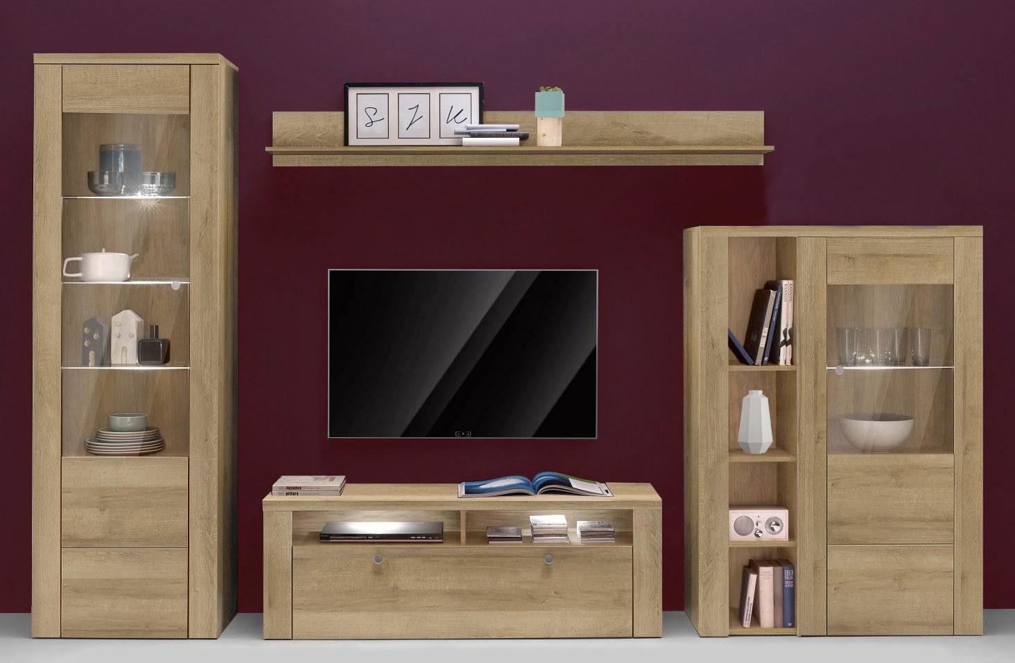 wohnwand anbauwand 4 teilig eiche riviera 12703 wohnw nde wohnzimmer feldmann wohnen. Black Bedroom Furniture Sets. Home Design Ideas