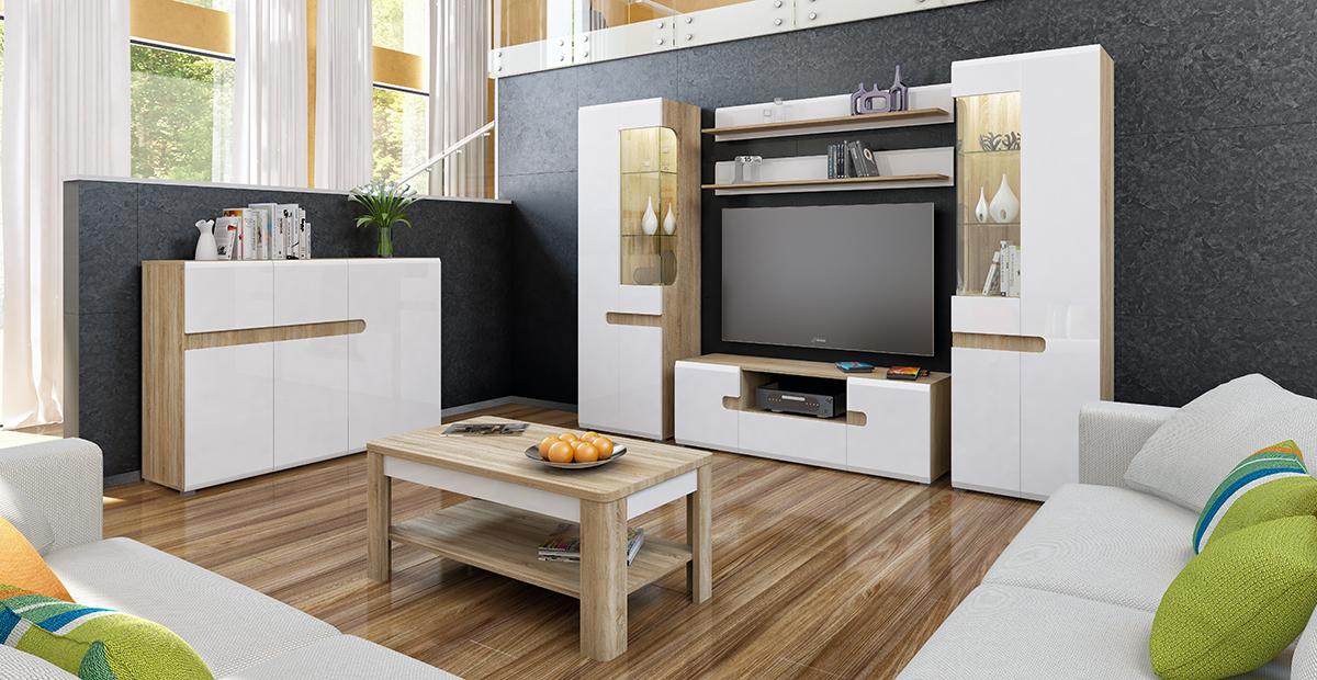 wohnwand 5 teilig sonoma eiche weiss hochglanz neu. Black Bedroom Furniture Sets. Home Design Ideas