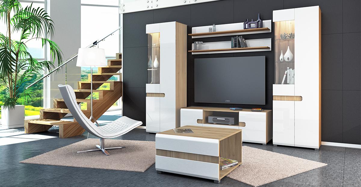 wohnwand anbauwand 5 teilig sonoma eiche wei hochglanz. Black Bedroom Furniture Sets. Home Design Ideas