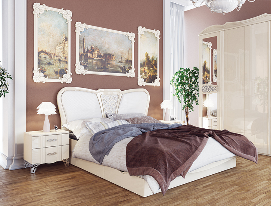 schlafzimmer set bett doppelbett 160x200cm nachtkonsole creme creme hochglanz holzbetten. Black Bedroom Furniture Sets. Home Design Ideas