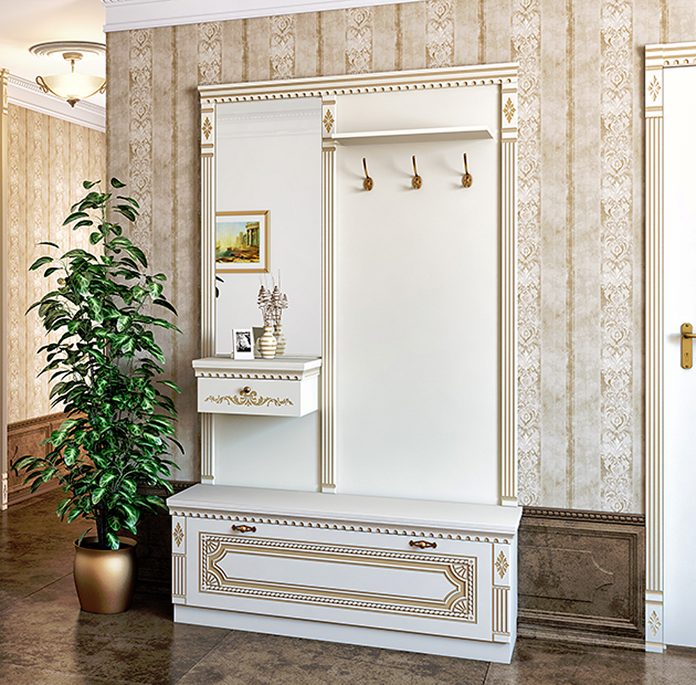 garderobe dielenset garderobenpaneel schuhbank creme neu dielen sets dielenm bel feldmann. Black Bedroom Furniture Sets. Home Design Ideas