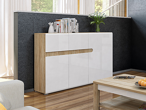 sideboard kommode 140cm sonoma eiche weiss hochglanz neu. Black Bedroom Furniture Sets. Home Design Ideas