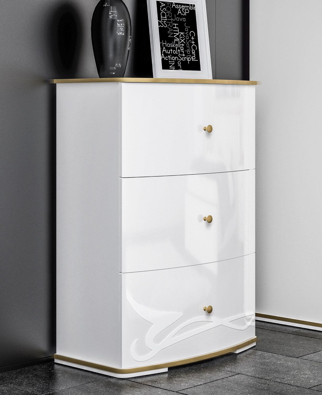 Kommode Schlafzimmer Highboard Schubladenkommode 18cm weiß / weiß