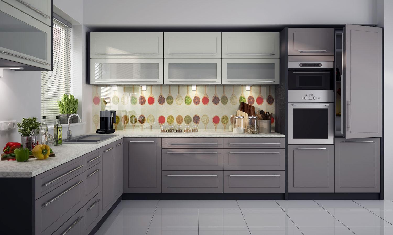 L-Form Küchenzeile Küchenblock 8x8cm lava vanille beige