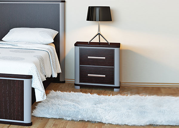 Nachttisch Schlafzimmer Nachtschrank 46cm eiche niagara - metallic ...