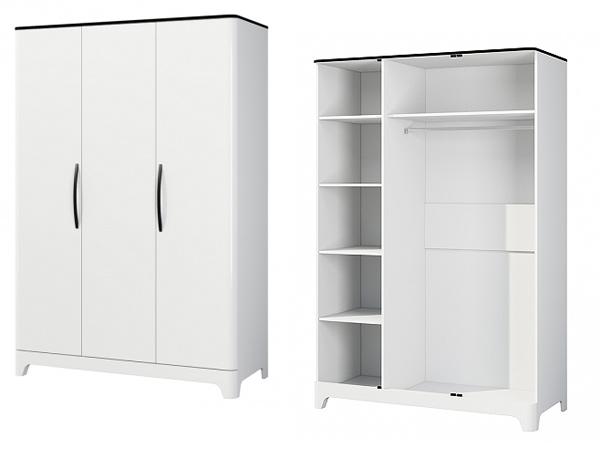schlafzimmer komplett 4 teilig mit kleiderschrank schwarz wei hochglanz neu komplett. Black Bedroom Furniture Sets. Home Design Ideas