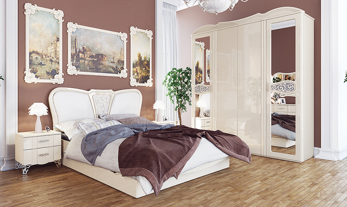 schlafzimmer set kleiderschrank bett 160x200cm nachtkonsole creme creme hochglanz komplett. Black Bedroom Furniture Sets. Home Design Ideas
