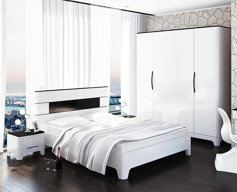 schlafzimmer komplett 4 teilig schwarz wei hochglanz neu komplett schlafzimmer. Black Bedroom Furniture Sets. Home Design Ideas
