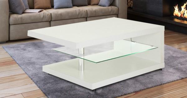Couchtisch Wohnzimmertisch 107cm x 67cm weiß Glasboden mit LED Beleuchtung