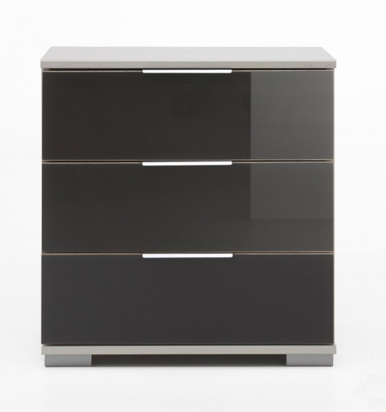 Nachtkommode Easy Plus Nachtschrank 52cm weiß grau Glas