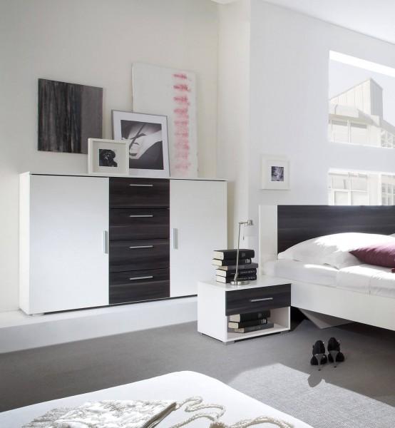 Schubladenkommode Vera Sideboard 132cm weiß nussbaum schwarz