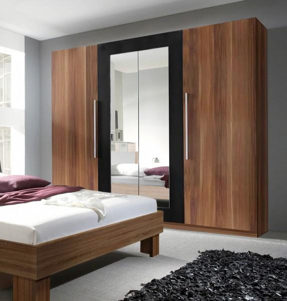 Kleiderschrank Vera 4-türig mit Spiegel 228cm kernnussrot schwarz