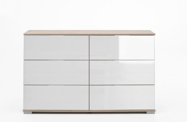 Schubladenkommode Easy Plus Sideboard 130cm eiche sägerau Weißglas