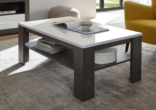 Etero Couchtisch 118x72cm dark concret weiß Hochglanz Wohnzimmertisch Modern