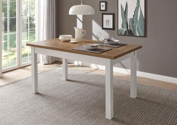Esstisch Provence Küchentisch 160-200x90cm pinie weiß eichefarben hell Landhaus-Stil