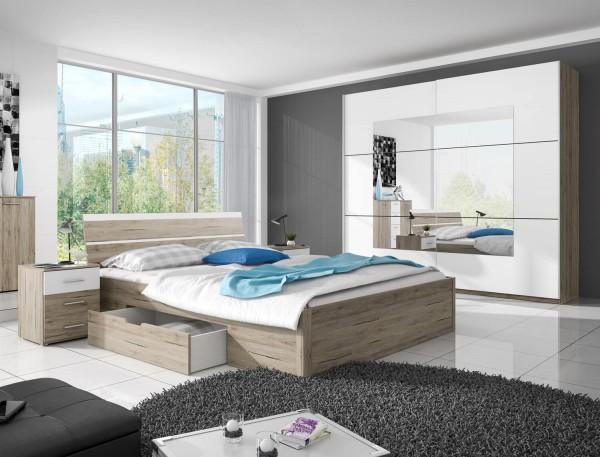 Schlafzimmer komplett Set Bettgestell 4-teilig eiche sanremo weiß Neu