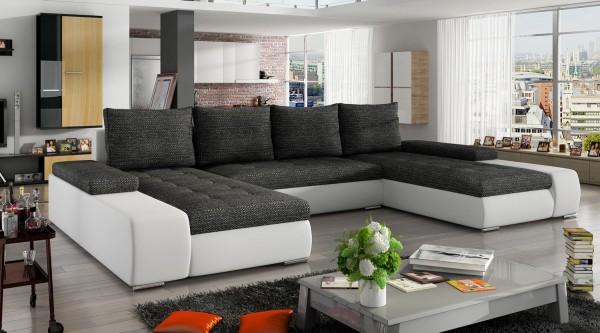 U-Form Ecksofa Couch Sofa Wohnlandschaft MARINO Bettkasten ...