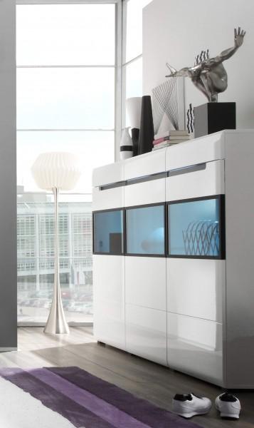 Highboard 2497AJ-48 Kommode Sideboard 180cm weiß Front MDF Hochglanz