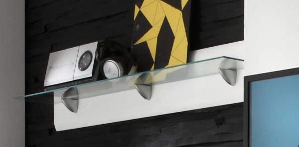 Wandboard 2497AJ-01 Wohnzimmer Regal 120cm weiß Front MDF Hochglanz