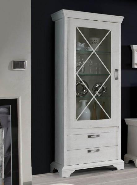 """Standvitrine """"Kashmir"""" Glasvitrine 78cm pinie weiß Landhaus-Stil"""