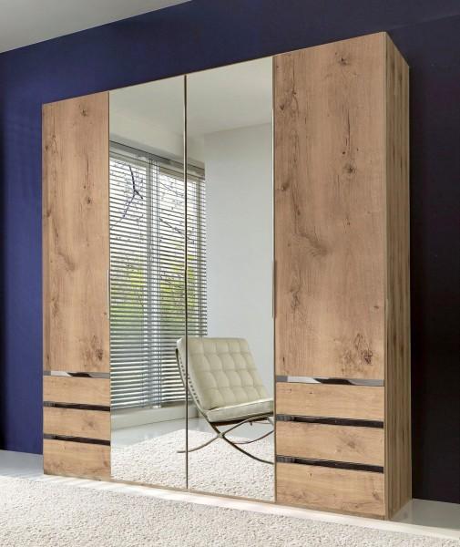 Kleiderschrank Level Schlafzimmerschrank 200cm plankeneiche mit Schubladen Spiegeltüren (15727)